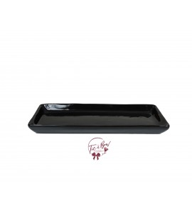 Black: Black 12.25 Inches Wide Rectangular Ceramic Tray