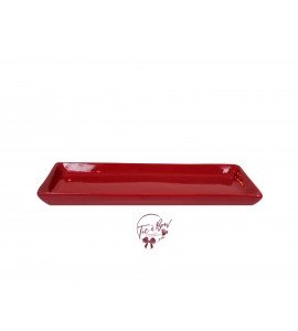 Red: Red 12.25 Inches Wide Rectangular Ceramic Tray