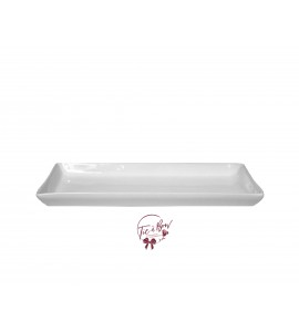 White: White 12.25 Inches Wide Rectangular Ceramic Tray
