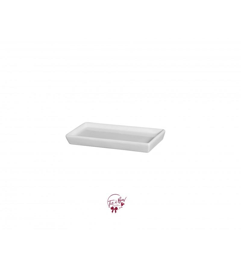 White Silva Rectangular Ceramic Tray