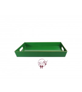 Green: Kelly Green Tray With Handles With Golden Border