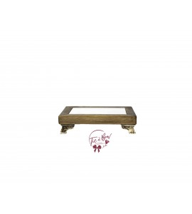 Wood: Mini Rustic Footed Tray With Mirror