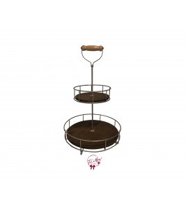 Wood: 2 Tier Wooden and Metal Tray