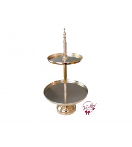 Gold: Golden 2 Tier Mirrored Tray