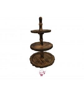 Wood: 3 Tier Bark Wood Tray