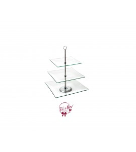 Clear: Clear with Silver Accent 3 Tier Tray