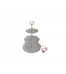 White: 3 Tier Embossed Tray With Gold Accents