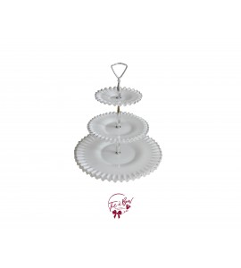 White: 3 Tier White Ruffled Edges Vintage Tray With Silver Accents