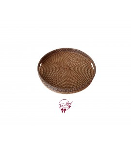 Brown: Brown and Beige Round Woven Wicker Tray