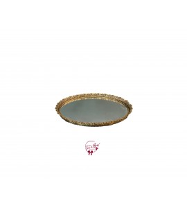 Gold: Golden Lacy Edge Vintage Oval Mirrored Tray