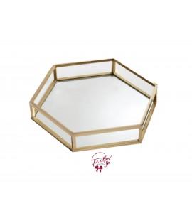 Gold: Golden Hexagonal Mirrored Tray