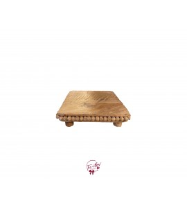 Wood: Square Beaded Footed Tray