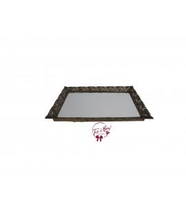 Gold: Golden Vintage Rectangular Mirrored Tray