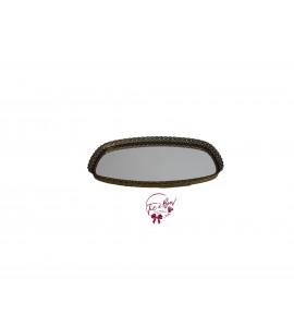 Gold: Golden Vintage Rectangular Round Edges Mirrored Tray