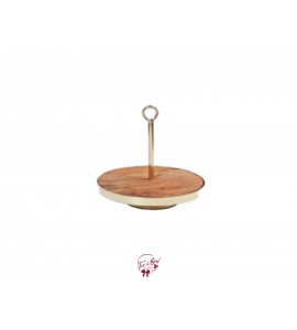 Wood Tray with Gold Centered Handle