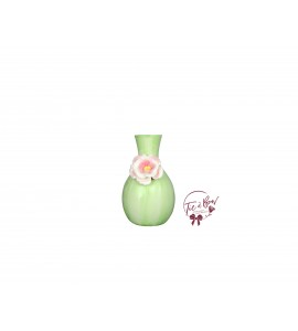 Green Vase: Light Green Curvy With Flower