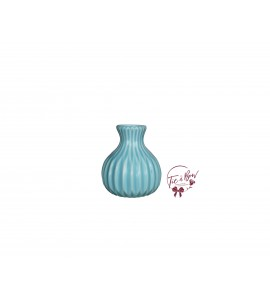 Blue Vase: Mini Light Blue Wavy Bud Vase