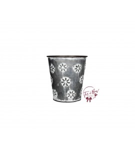 Galvanized Vase: 4.25 Inches Tall Galvanized Vase With Floral Design