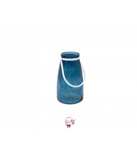 Blue with White Metal Handle Vase