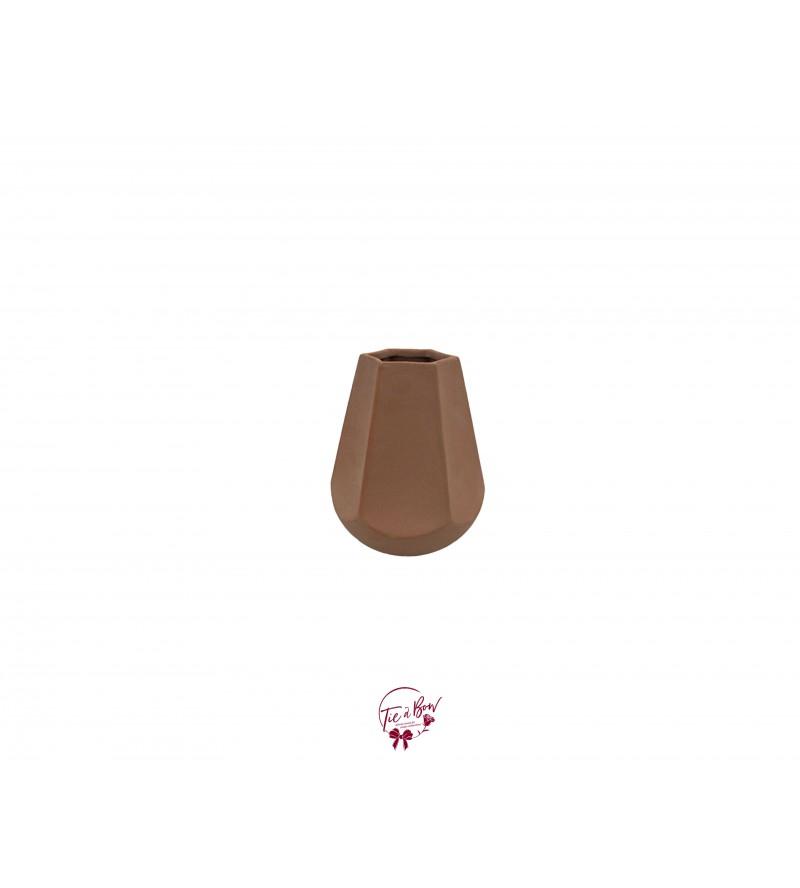 Terracotta Grainy Diamond Shaped Vase