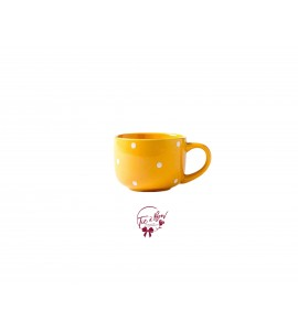 Tea Cup: Large Polka Dot Yellow Tea Cup