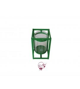 Green Vase: Rectangular Metal and Glass Vase/ Kelly Green