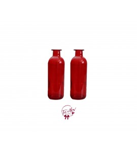 Red Bottle: Red Collared Bottle Set of 2