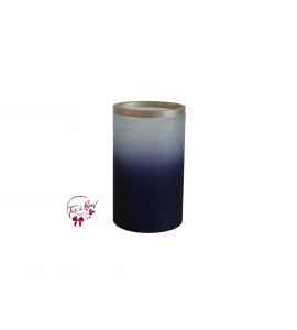 Blue Vase: Wavy Ombre Cobalt Blue Vase with Silver Trim